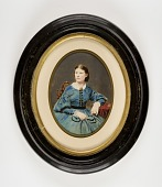 view Seated Woman in Blue Dress with Black Trim digital asset number 1