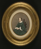 view Woman in Green Dress Seated in Gothic Chair digital asset number 1