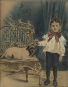 view Boy with Dog on Chair digital asset number 1