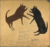 view Untitled (Dog Fight with Writing) digital asset number 1
