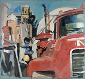 view Red Truck and Synagogue digital asset number 1