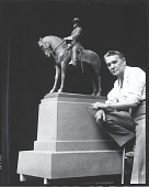"""view Robert Aitken with model for """"General Oliver O. Howard Equestrian Statue"""" [photograph] / (photographed by Peter A. Juley & Son) digital asset number 1"""