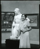 "view Gladys Edgerly Bates standing next to her ""The Acrobat,"" 1934 [photograph] / (photographed by Peter A. Juley & Son) digital asset number 1"