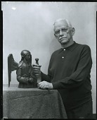 view Gleb W. Derujinsky with sculpture [photograph] / (photographed by Peter A. Juley & Son) digital asset number 1