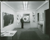 view Installation view of Robert Motherwell 1959 solo exhibition at Sidney Janis Gallery, March 1959 (with Sidney Janis standing near the doorway) [photograph] / (photographed by Peter A. Juley & Son) digital asset number 1