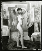 view Model Posing, Myself in Background [painting] / (photographed by Peter A. Juley & Son) digital asset number 1
