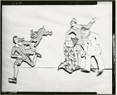 view Children's Playroom Cutouts: Pinocchio Ran but the Dog Aldiro Ran Faster and Pinocchio Saves the Life of His Friend Harlequin [sculpture] / (photographed by Walter J. Russell) digital asset number 1