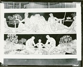 view Founders of Athens (upper panel) and The Family (cartoons for marble mosaic for Nebraska State Capitol) [painting] / (photographed by Peter A. Juley & Son) digital asset number 1