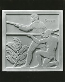 view Hawkeye and Indian Brave [sculpture] / (photographed by Peter A. Juley & Son) digital asset number 1