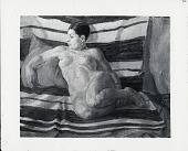 view Brunette Nude, Striped Blanket [painting] / (photographed by Peter A. Juley & Son) digital asset number 1