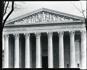 """view United States Supreme Court Building pediment """"Equal Justice Under Law"""" [sculpture] / (photographed by Peter A. Juley & Son) digital asset number 1"""