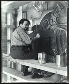 """view Diego Rivera at work on """"Allegory of California,"""" San Francisco Stock Exchange Luncheon Club, 1931 [photograph] / (photographed by Peter A. Juley & Son) digital asset number 1"""