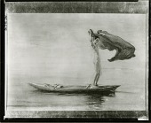 view Girl in Bow of Canoe Spreading Out her Loin-Cloth for a Sail, Samoa [painting] / (photographed by Peter A. Juley & Son) digital asset number 1