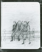view Three Soldiers on March (from War Diary Notebooks), [drawing] / (photographed by Peter A. Juley & Son) digital asset number 1