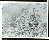 view Locomotives [painting] / (photographed by Peter A. Juley & Son) digital asset number 1