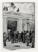 view The Raising of the Flag over the Royal Palace at Santiago at Noon, July 17, 1898 [drawing] / (photographed by Peter A. Juley & Son) digital asset number 1