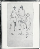 view Caricature of Robert Henri, Elmer Schofield and William Glackens [drawing] / (photographed by Peter A. Juley & Son) digital asset number 1