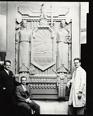 """view Ulrich H. Ellerhusen in his studio with model for """"New York State Seal, Water Tower, Jones Beach Park, New York"""" [photograph] / (photographed by Peter A. Juley & Son) digital asset number 1"""