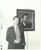 view Edward Laning standing beside a self-portrait [photograph] / (photographed by Peter A. Juley & Son) digital asset number 1