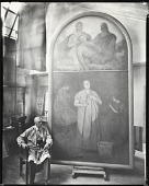 """view William Starkweather in his studio seated before """"Portrait of Margaret Donegan, A Studio Scrub Woman"""" [photograph] / (photographed by Peter A. Juley & Son) digital asset number 1"""