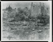 view Pond at Central Park [painting] / (photographed by Peter A. Juley & Son) digital asset number 1