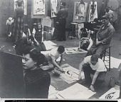 view Art Students League instructor with students [photograph] / (photographed by Peter A. Juley & Son) digital asset number 1