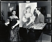view Wallace Bassford in his studio with model [photograph] / (photographed by Peter A. Juley & Son) digital asset number 1