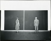 """view Barnett Newman and unidentified woman standing in front of """"Cathedra"""" in his Front Street studio, New York [photograph] / (photographed by Peter A. Juley & Son) digital asset number 1"""