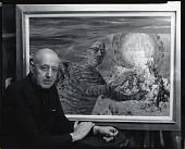 view Harry Sternberg with self-portrait [photograph] / (photographed by Peter A. Juley & Son) digital asset number 1
