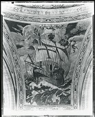 view Cunard Building Mural: Fleet of Christopher Columbus [fresco] / (photographed by Peter A. Juley & Son) digital asset number 1