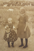 view Two Children Standing in a Field [photomechanical print] digital asset number 1