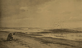 view Beach Scene with Man Shooting at Seabirds [photomechanical print] digital asset number 1