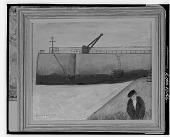 view Man Walking at Harbor [painting] / (photographed by Walter Rosenblum) digital asset number 1