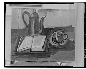 view No Title Given: Still Life with Pitcher and Book [painting] / (photographed by Walter Rosenblum) digital asset number 1