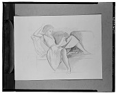 view No Title Given: Woman on Couch, Reading [drawing] / (photographed by Walter Rosenblum) digital asset number 1