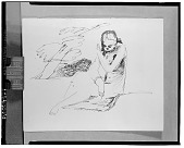 view No Title Given: Woman Reading [drawing] / (photographed by Walter Rosenblum) digital asset number 1