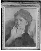 view Jeune femme la main devant sa bouche [painting] / (photographed by Walter Rosenblum) digital asset number 1