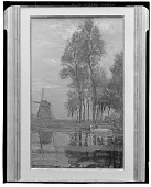 view Windmill near Tall Trees with Woman at the Wash Stoop [painting] / (photographed by Walter Rosenblum) digital asset number 1