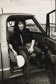 view Running Fence, Sonoma and Marin Counties, California, 1972-76, Jeanne-Claude in cab of truck digital asset number 1