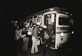 view Running Fence, Sonoma and Marin Counties, California, 1972-76, Fabric-installation workers boarding buses in dark at 5 a.m. digital asset number 1