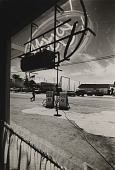 view Running Fence, Sonoma and Marin Counties, California, 1972-76, Valley Ford viewed through diner window looking towards Post Office digital asset number 1