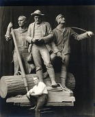 """view Robert Aitken seated in front of full-size model for """"The Lumberman Monument"""" [photograph] / (photographed by De Witt Ward) digital asset number 1"""