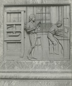 view Benjamin Franklin (detail of one of the pedestal reliefs) [sculpture] / (photographer unknown) digital asset number 1