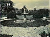 view [Gibraltar]: lower boxwood garden, fountain, and statue. digital asset: [Gibraltar]: lower boxwood garden, fountain, and statue.: [between 1920 and 1921]