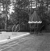 view [Miscellaneous Swimming Pools]: swimming pool and adjacent outdoor living area. digital asset: [Miscellaneous Swimming Pools] [safety film negative]: swimming pool and adjacent outdoor living area.