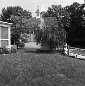 view [Mulvilhill Garden]: back of house, with swimming pool on right. digital asset: [Mulvilhill Garden] [safety film negative]: back of house, with swimming pool on right.
