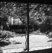 view [Sargent, Lucy, Garden]: looking out toward lawn and garden from wisteria-covered pergola. digital asset: [Sargent, Lucy, Garden] [contact print]: looking out toward lawn and garden from wisteria-covered pergola.