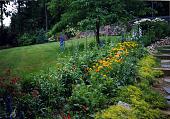 view [Smith Garden No. 2]: garden borders and lawn area, looking toward woodland garden. digital asset: [Smith Garden No. 2] [photographic print]: garden borders and lawn area, looking toward woodland garden.