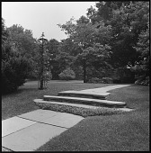 view [Unidentified Garden in Unknown Location]: stone path and stairs. digital asset: [Unidentified Garden in Unknown Location] [safety film negative]: stone path and stairs.