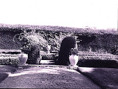 view Tobin Garden: east garden ca. 1935-1945 with sunken garden containing pedestal and urn later moved to western garden; a cypress hedge surrounded the property. digital asset: Tobin Garden: east garden ca. 1935-1945 with sunken garden containing pedestal and urn later moved to western garden; a cypress hedge surrounded the property.: [between 1935 and 1945]